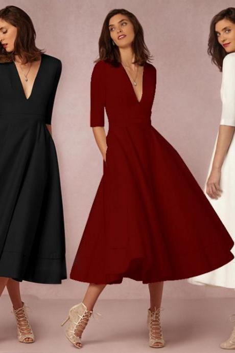 Charming V Neck Hollow Mid-Sleeve Dress