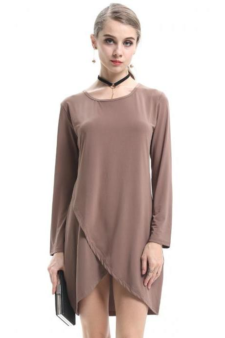 Crew Neck Long Sleeves Mini Shift Dress Featuring Irregular Hem