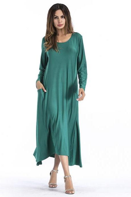 Fashion Solid Color Long Sleeve Maxi Dress - Green