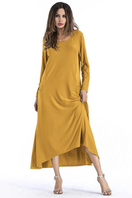 Fashion Solid Color Long Sleeve Maxi Dress - Yellow