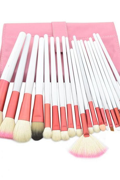 High Quality Goat Hair 20 PCs/set Cosmetic MakeUp Brushes Set With BeigeLeather Bag Kit - Blue