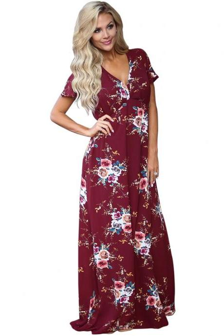 Burgundy Floral Print Chiffon Plunge V Short Sleeves A-Line Maxi Dress