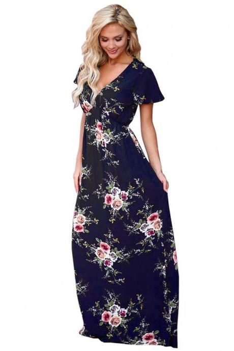 Navy Blue Floral Print Chiffon Plunge V Short Sleeves A-Line Maxi Dress