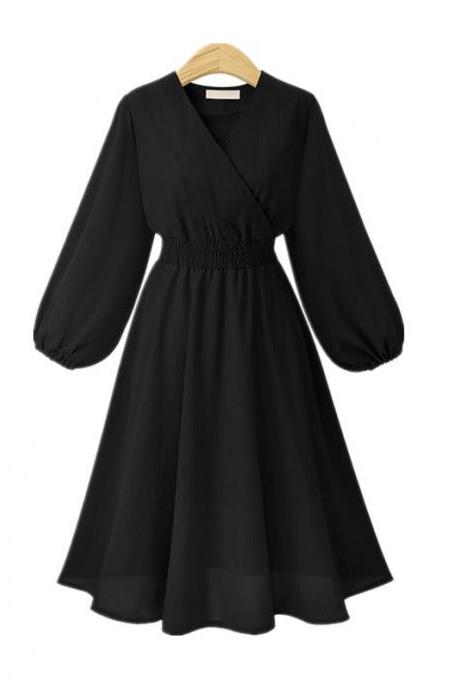 Black V-Neck Chiffon Short Vintage Dress with Long Sleeves