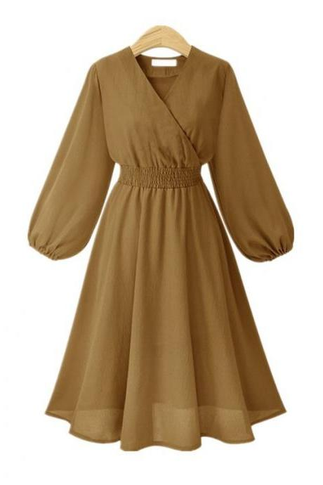 Khaki V-Neck Chiffon Short Vintage Dress with Long Sleeves
