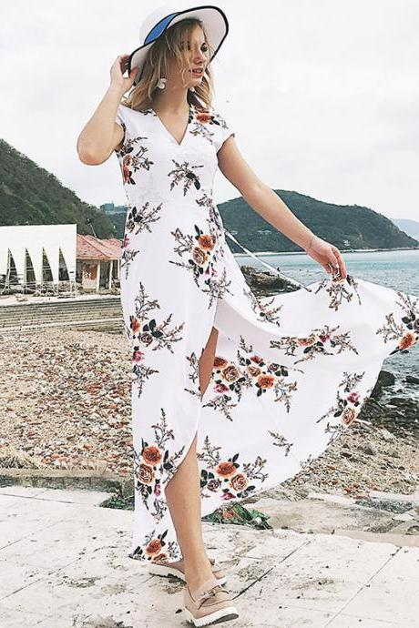White Floral Print Chiffon Plunge V Short Sleeves Wrap Floor Length Maxi Dress Featuring Slit