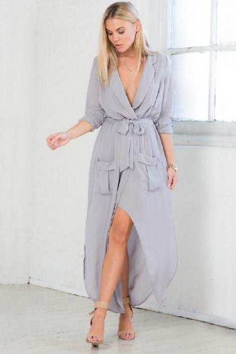 Sexy Long Sleeve V Neck Maxi Dress With Belt