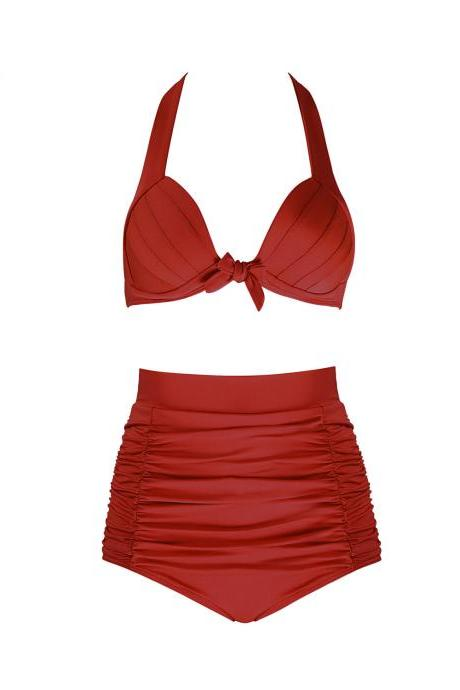 Free Shipping Sexy High Waist Bikini With Good Elasticity - Red