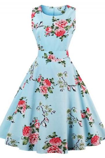 Blue Sleeveless Floral Printed A-Line Midi Dress