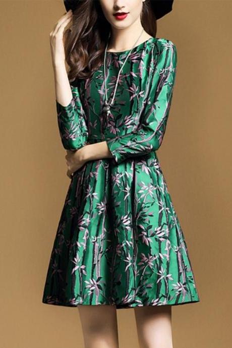 High Quality Fashion Green Round Neck 3/4 Sleeve A-line Floral Dress
