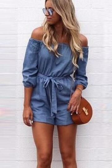 Denim Elasticised Off-The-Shoulder Half Sleeves Romper Featuring Bow Accent Belt