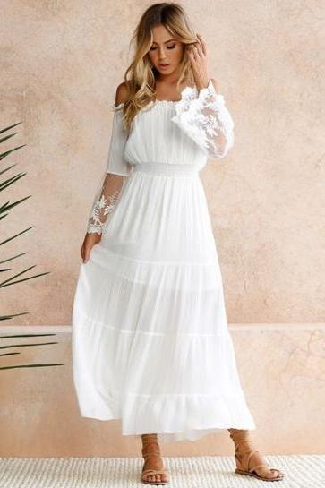 White Off Shoulder Flare Sheer Lace Sleeve Maxi Dress