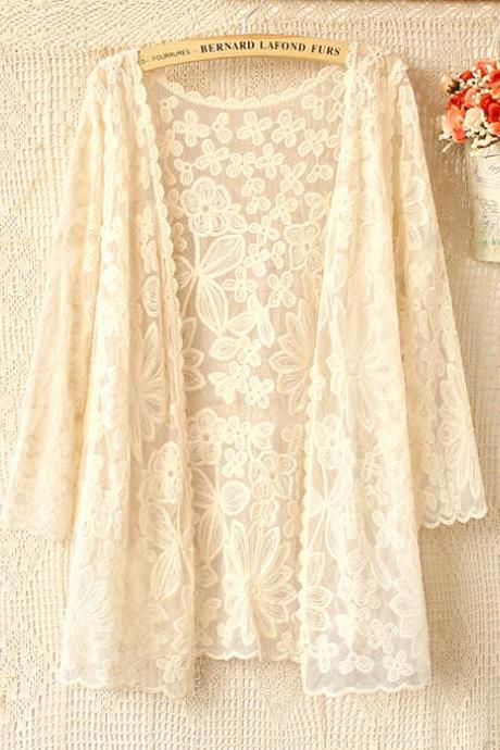 Fashion Loose Lace Beige White Cardigans