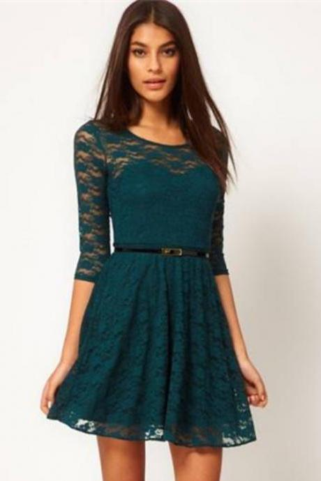 Fashion Lace Stitching Round neck long-sleeved dress with belt - Green
