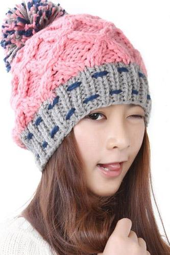 Free Shipping Women Hat For Winter Knitted Wool Fashion Casual Cap - Pink
