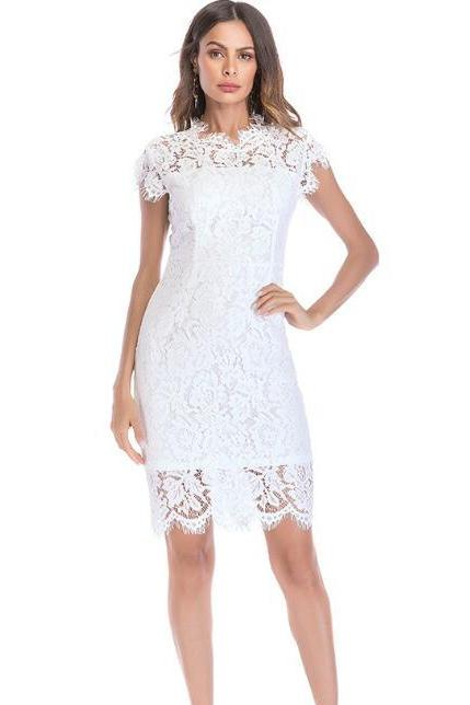 Vintage Solid Lace Sleeveless Tight Dress - White