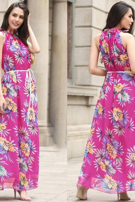 Bohemia Halter Neck Sleeveless Printed Chiffon Long Dress - Rose
