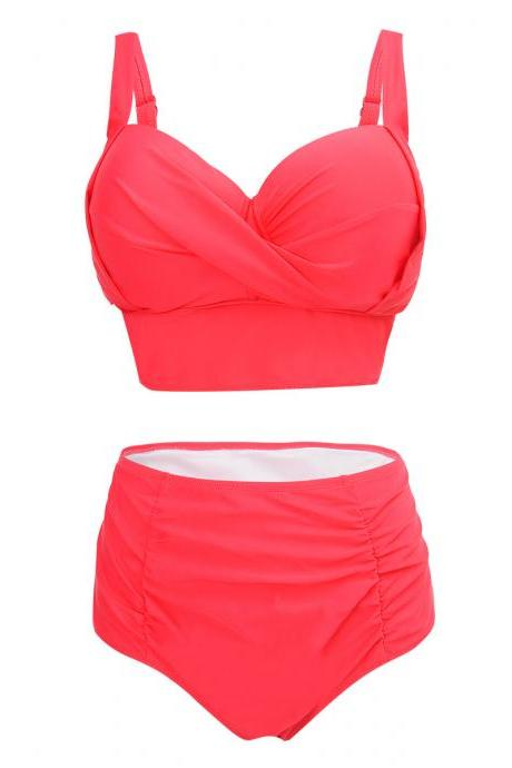 High Waist V Neck Solid Swimwear - Red