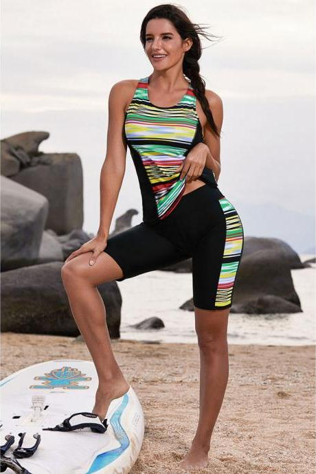 New Stripe Swimsuit Bikinis Set Tankini with Shorts Pants Women Swimwear