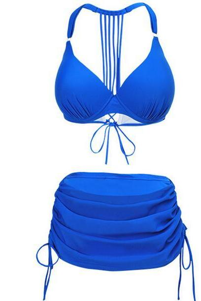 Sexy Women Swimsuit Bandage Bikini Swimwear - Blue