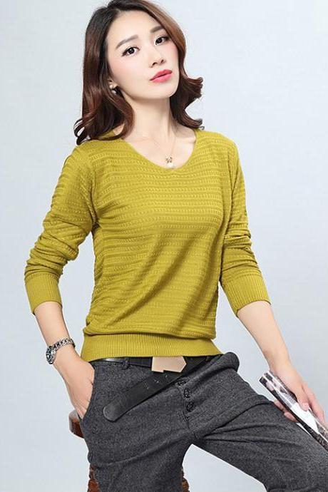 Fashion V Neck Sweater For Lady - Green