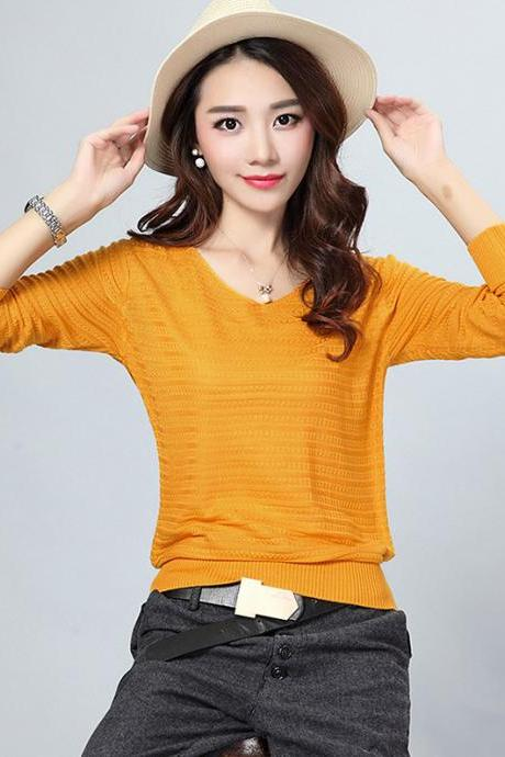 Fashion V Neck Sweater For Lady - Yellow