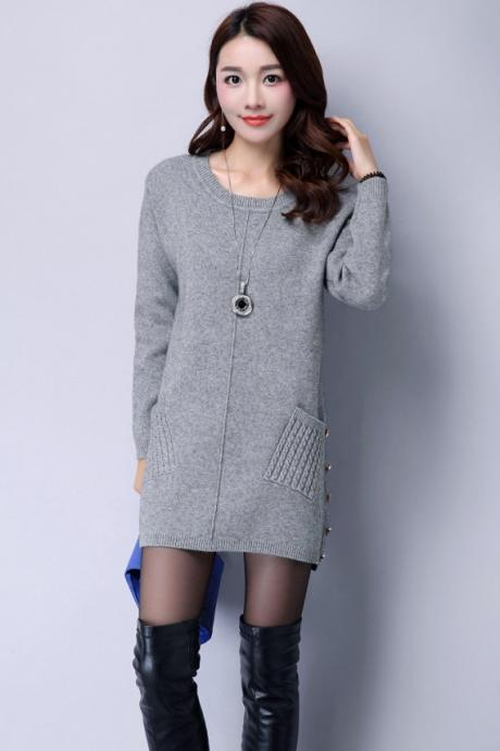 New Pullover Sweater Dress Loose Knit Shirt