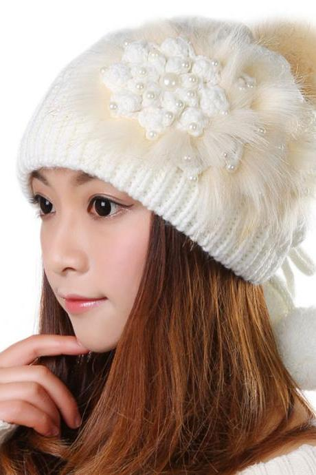 Free shipping Knitted Hat Ball Beanies Winter Hat For Women - White