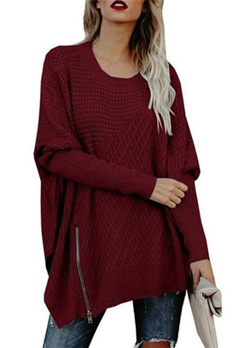 Fashion Zipper Loose Woman Hollow Batwing Sleeve Pullovers - Red