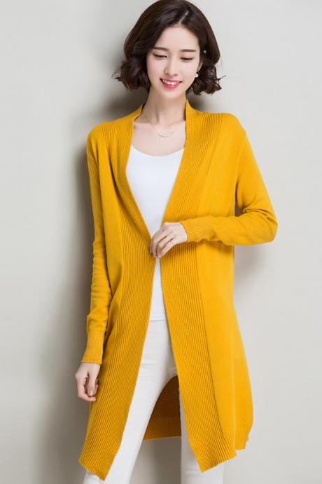 Autumn and winter women slim long sweater cardigan - Yellow