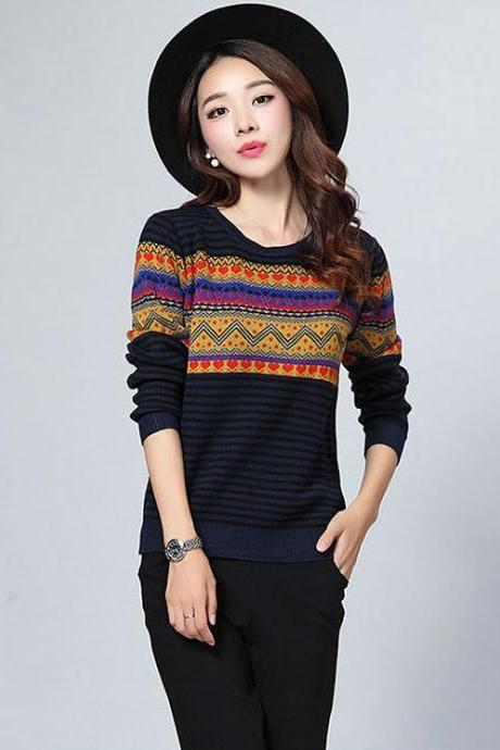 Stripe Pattern Print Round Neck Woman Pullovers - Navy Blue