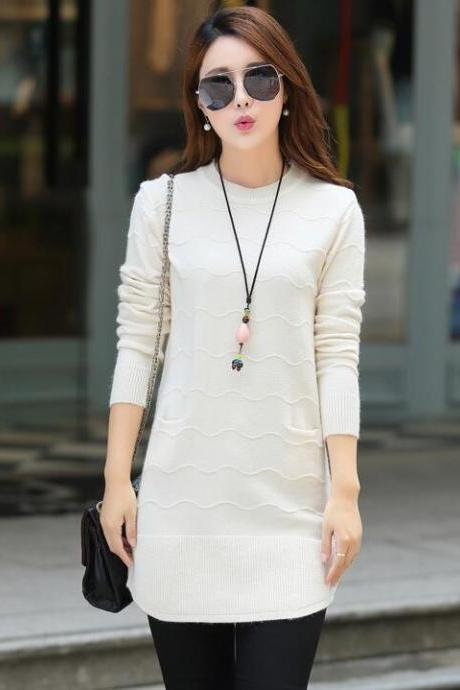 Knitting Womens Long Sleeves Long Style Loose Sweater - White