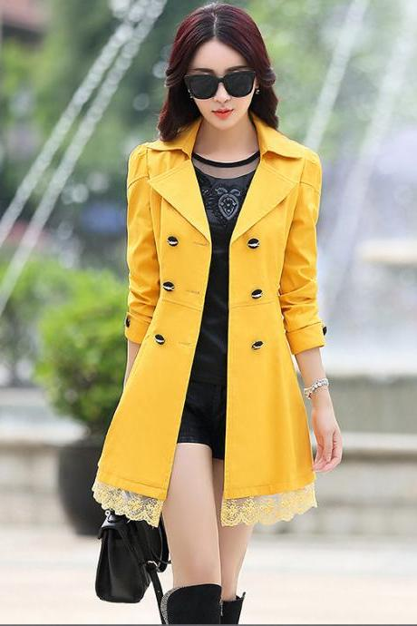 New Lace Decoration Double Breasted Trench Coat - Yellow