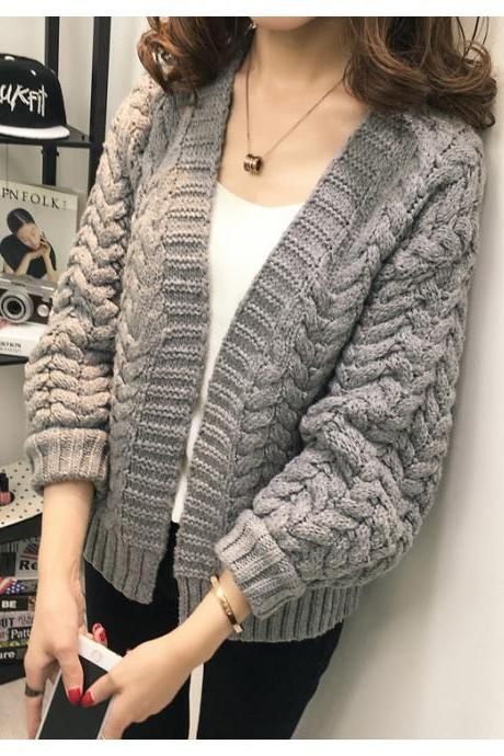 Women's Slim Solid Color Long Woollen Coat Outwear