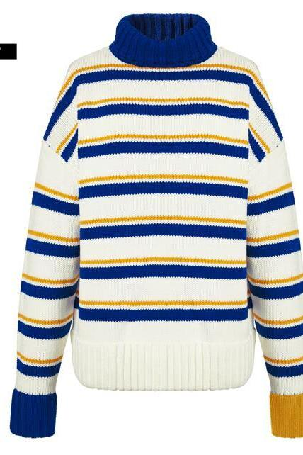 Striped Loose Sweater For Women