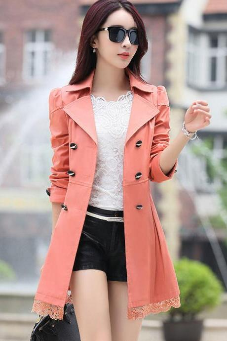 New Lace Decoration Double Breasted Trench Coat - Pink