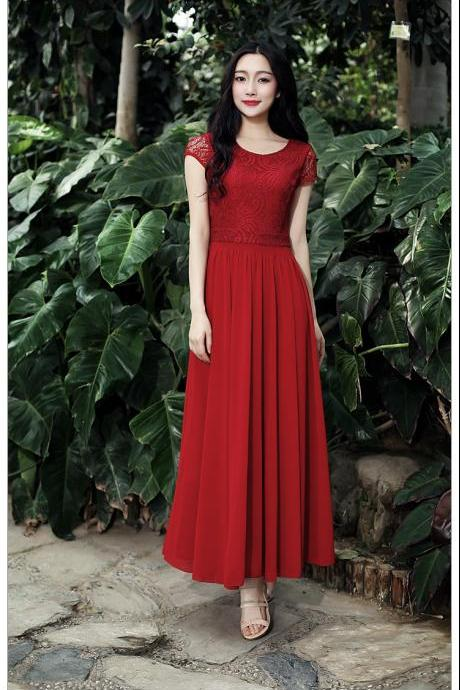 Spring and Summer Long Chiffon Dress - Red