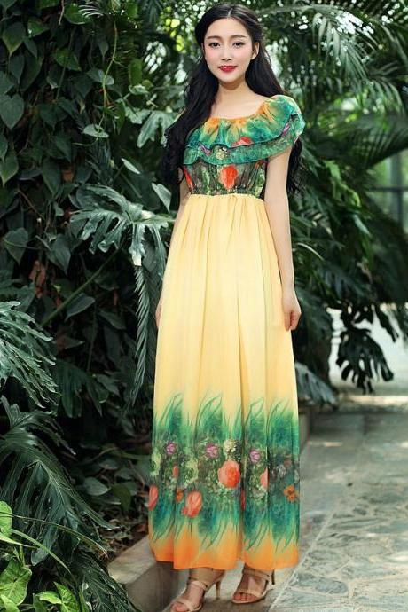 Fashion New Off the Shoulder Long Maxi Dress - Yellow