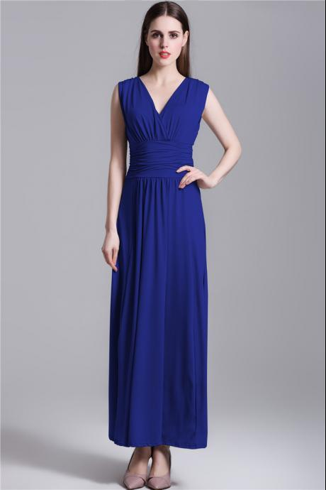 Sexy V Neck Blue Pleated Long Dress
