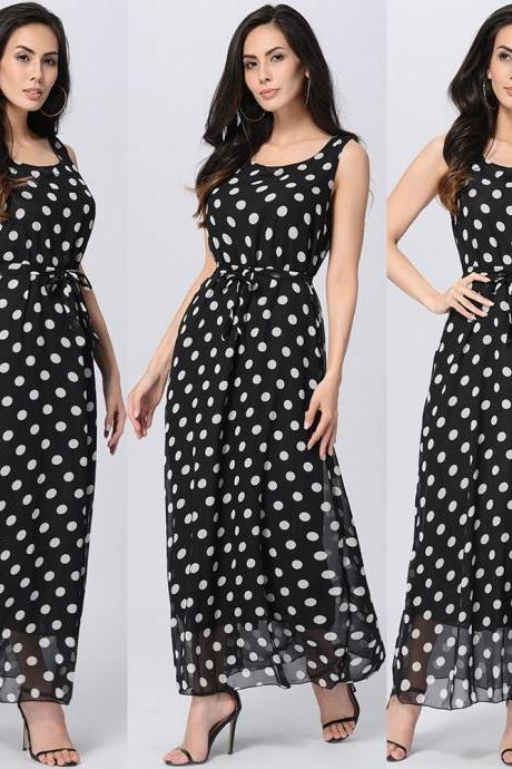 Round Neck Polka Dots Sleeveless Chiffon Ankle Length Dress - Black