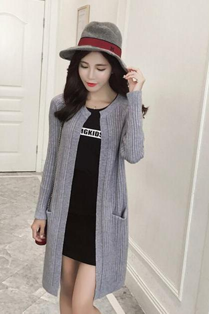 Autumn Grey Color Women Cardigan Sweater
