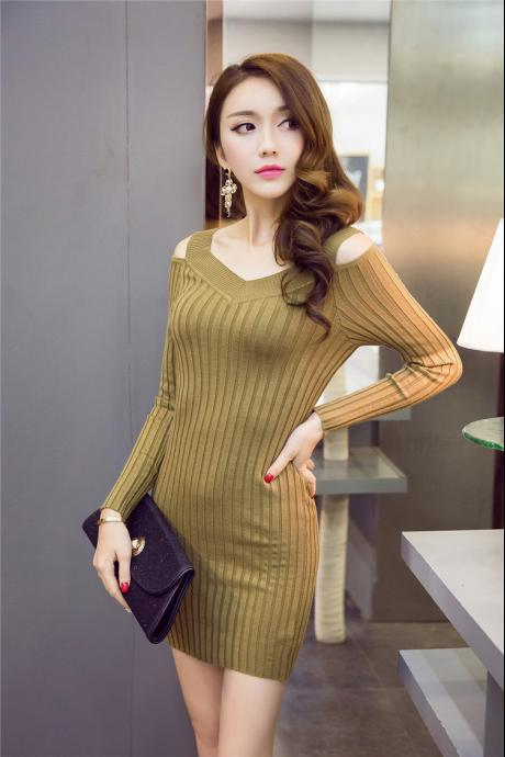 New Sexy V-neck Women Dress - Army Green