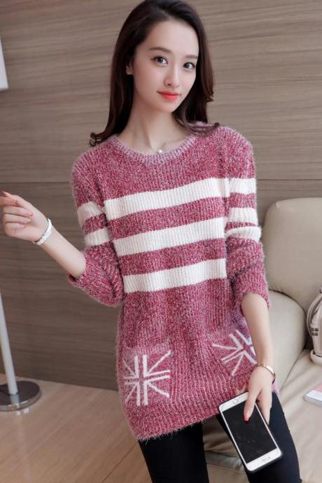 Women Strips Loose O-Neck Long Sleeve Casual Sweater Fashion Knitted Tops - Red