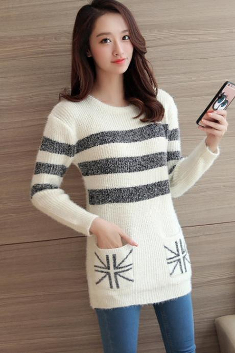 Women Strips Loose O-Neck Long Sleeve Casual Sweater Fashion Knitted Tops - White