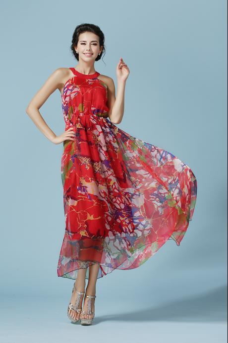 Round Neck Sleeveless Floral Chiffon Long Maxi Dress