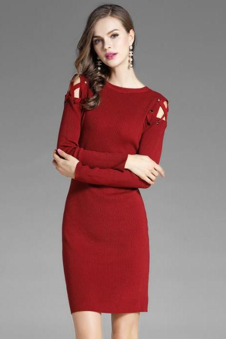 High Quality Long Sleeve Round Neck Off Shoulder Sweater Dress