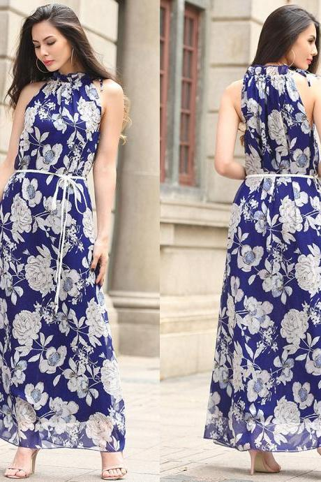 Bohemia Halter Neck Sleeveless Printed Chiffon Long Dress - Blue