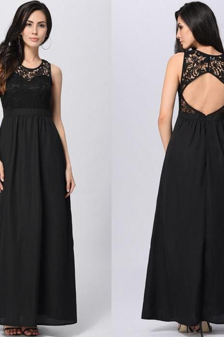 Charming Sexy Open Back Maxi Long Dress - Black