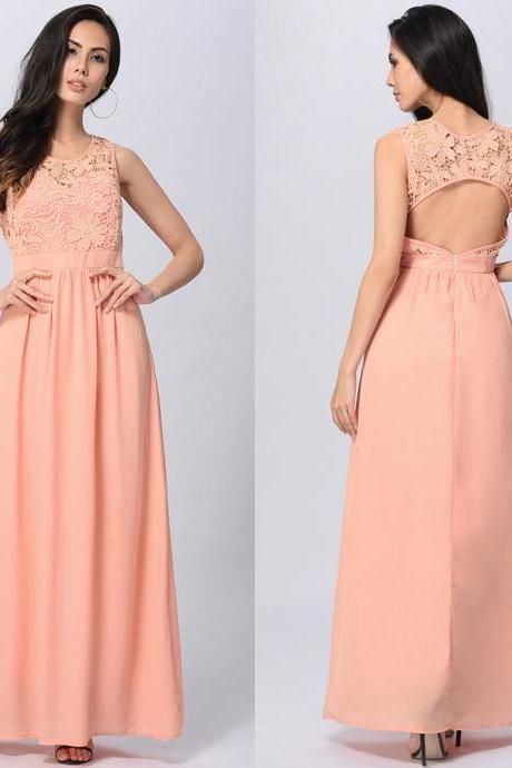 Charming Sexy Open Back Maxi Long Dress - Pink