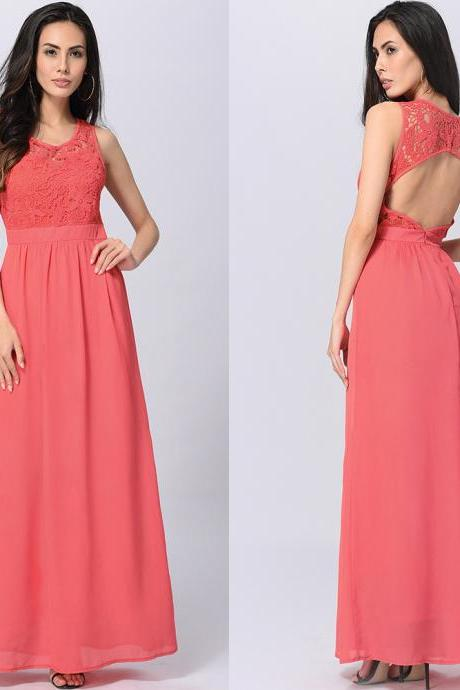 Charming Sexy Open Back Maxi Long Dress - Rose